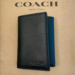 NWT Coach Men's Trifold Wallet Black Leather
